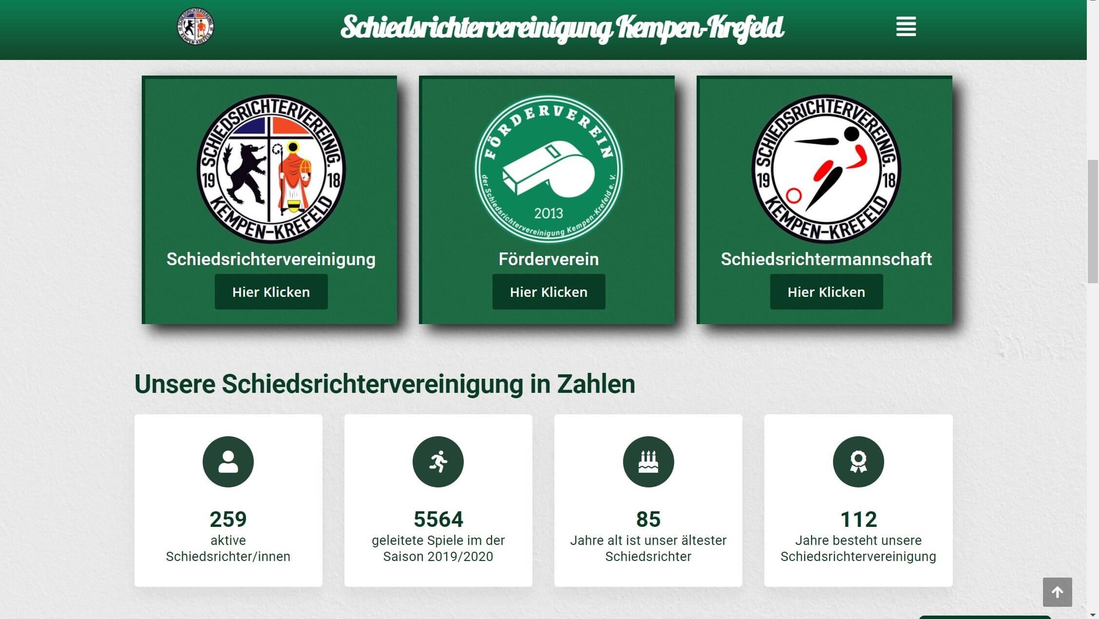 Internetseite der Schiedsrichtervereinigung Kempen-Krefeld
